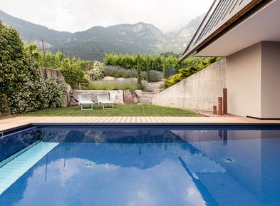 Solar-heated saltwater pool in the Villa Pernstich in Caldaro